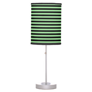 Soft Green and Black Stripes Table Lamp