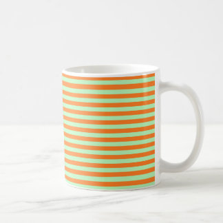 Soft Green and Orange Stripes Coffee Mug