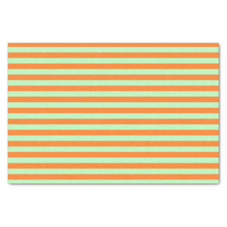Soft Green and Orange Stripes Tissue Paper
