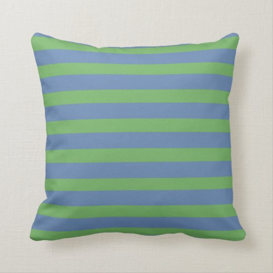 Soft Green and Periwinkle Striped Pattern Throw Pillow