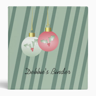 Soft Green and Pink Ornaments on Striped Binder