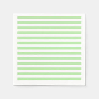 Soft Green and White Stripes Disposable Napkins