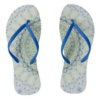 Soft Green Blue Mandala Flip Flops