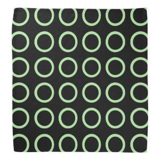 Soft Green Circles Black Bandana