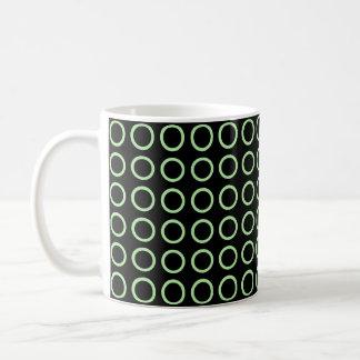 Soft Green Circles Black Coffee Mug