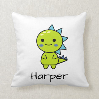 Soft Green Dinosaur Kawaii Cartoon Throw Pillow