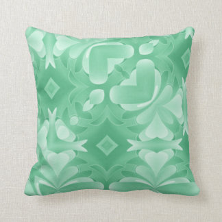 Soft Green Hearts and Diamonds Throw Pillow