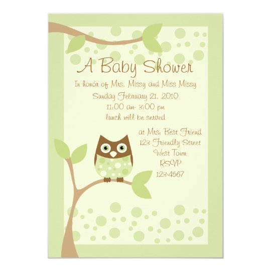 Soft Green Owl Baby Shower Invitation
