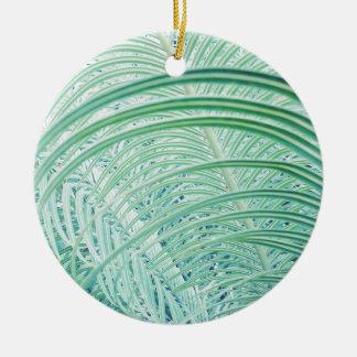 Soft Green Plant Palm Leaf Ceramic Ornament