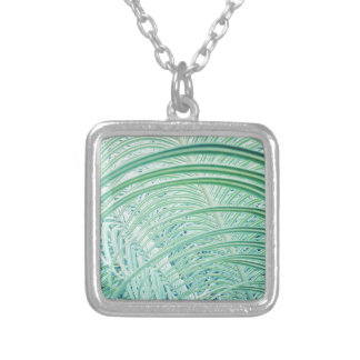 Soft Green Plant Palm Leaf Silver Plated Necklace