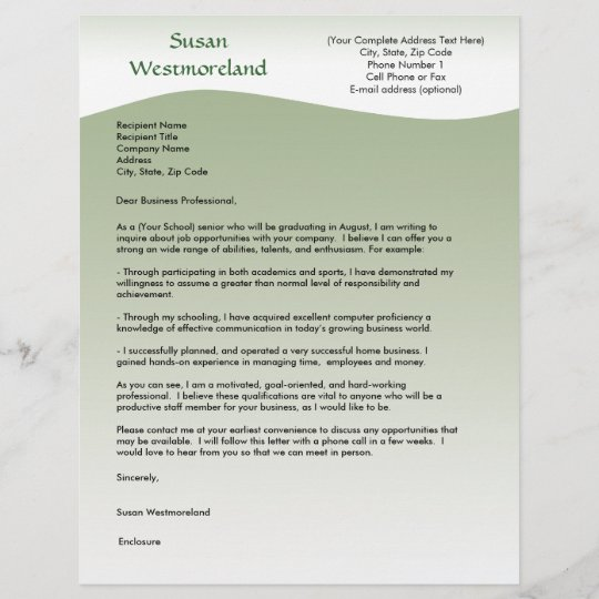 personalized cover letter template