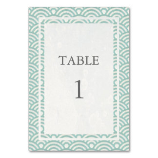 Soft Green + White Japanese Seigha Table Number