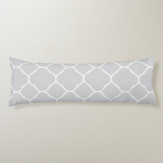 Soft Grey Quatrefoil Pattern Body Pillow