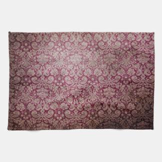 Soft grunge purple damask pattern kitchen towel