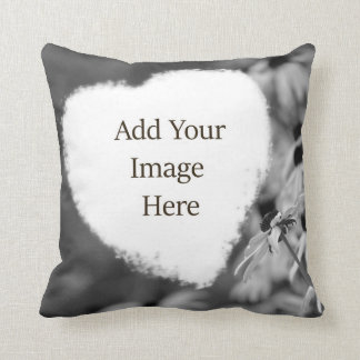 Soft Heart Shape Black and White Add Your Photo Throw Pillow