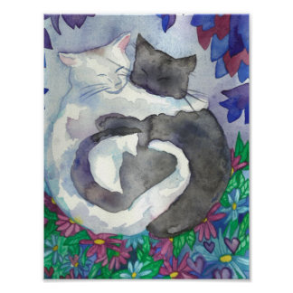 Soft hearts cats best friends Art Poster