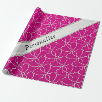 Soft Hot Pink Glitter Diamond Heart Patterns Wrapping Paper
