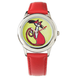 Soft Kitty - Watch with Red Wrist Band