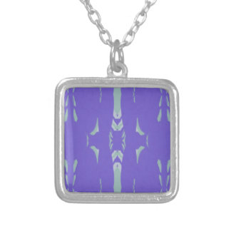 Soft Lavender Mint Green Artsy Pattern Silver Plated Necklace