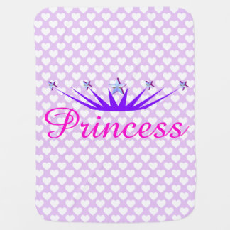 Soft Lavender Princess and Hearts Baby Blankets