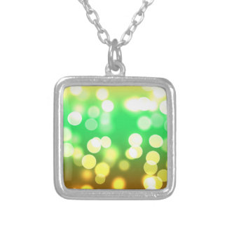 soft lights bokeh 3 silver plated necklace