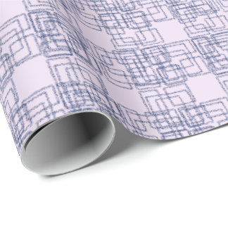 Soft Lilac and Navy Tiled Checks  Wrapping Paper