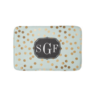 Soft Mint and Gold Glitter City Dots Bath Mat