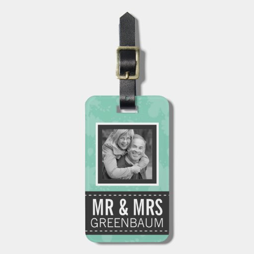 Soft Mint and Gray Mr and Mrs Personalized Photo Tag For Bags