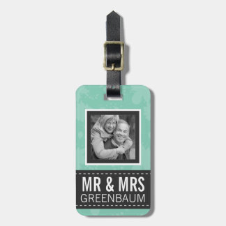 Soft Mint and Gray Mr and Mrs Personalized Photo Travel Bag Tag