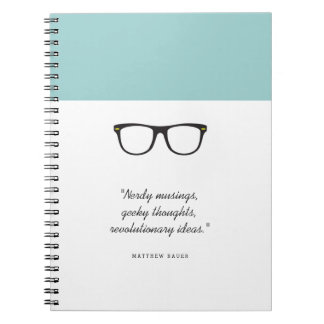 Soft Mint Glasses Spiral Notebook