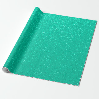 Soft Mint Green Glitter Print Wrapping Paper