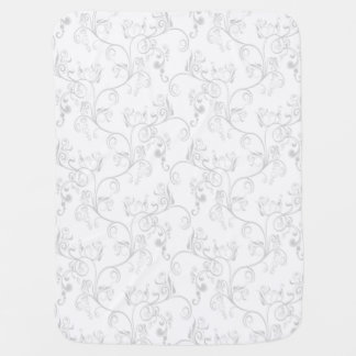 Soft Modern White&Grey Damask Baby Blankets