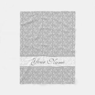 Soft Modern White&Grey Named Damask Fleece Blanket