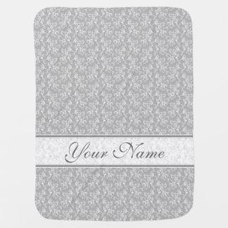 Soft Modern White&Grey Named Damask Receiving Blankets