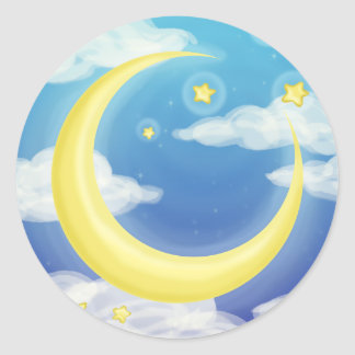 Soft Moon on Blue Classic Round Sticker