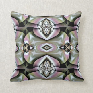 Soft Moss Green Pink Fractal Throw Pillow