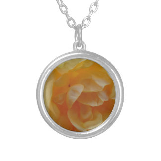 Soft Orange Rose Silver Plated Necklace