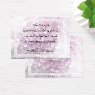 Soft Pale Pink Hydrangea Wedding Charity Card