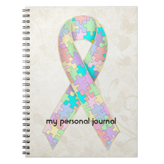 Soft Pastel Color Autism Ribbon Awareness Design Notebooks
