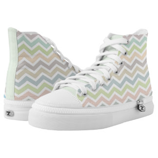 Soft Pastel Colors Chevron Pattern High Tops
