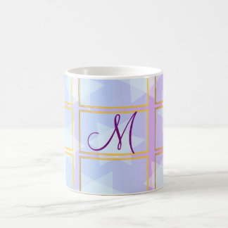 "Soft pastel colors ""star & checks theme"" monogram coffee mug"