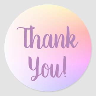 Soft Pastel Ombre Purple Calligraphy Thank You Classic Round Sticker