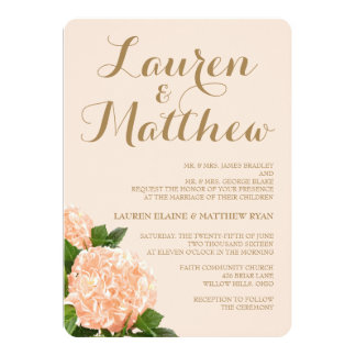 Soft Peach Hydrangea Wedding Invitation