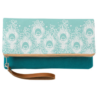 Soft peacock feathers clutch