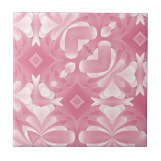 Soft Pink Abstract Hearts and Diamonds Tile