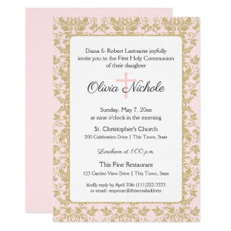Soft Pink and Gold Damask First Communion Card