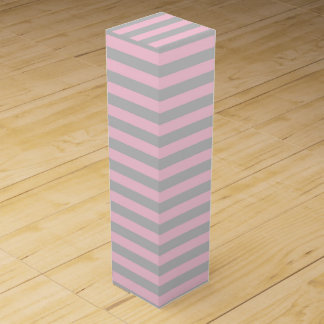 Soft Pink and Silver Stripes Wine Gift Box