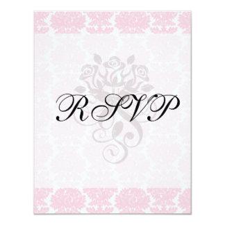 """soft pink and white flourish damask pattern 4.25"""" x 5.5"""" invitation card"""