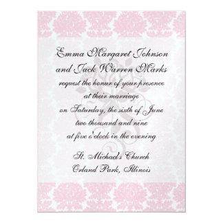 """soft pink and white flourish damask pattern 5.5"""" x 7.5"""" invitation card"""