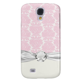 soft pink and white flourish damask pern